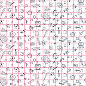 Vector seamless pattern with education back to school icons. Doodle student background.