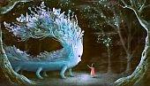 Fantasy scene girl with blue giant monster in surreal nature, painting art, dreamlike artwork, imagination concept illustration