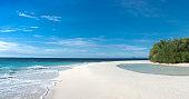 Idyllic Tropical White Sand Beach on Maldives Island - Stock photo