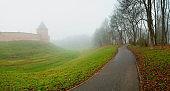 Veliky Novgorod, Russia. Autumn city landscape of Veliky Novgorod Kremlin in foggy weather