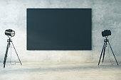 Concrete interior with blackboard