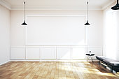 Modern living room interior with empty banner