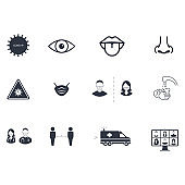 Simple Set of Coronavirus Safety Related Vector Icons On White Background In Flat Style