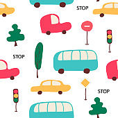 Cute child seamless pattern with cars, bus, traffic lights, road signs. Good for fabric, texitle, wrapping for kids. Vector isolated