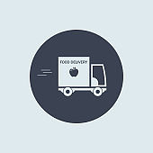 food delivery truck icon. vector symbol in simple flat style on round background