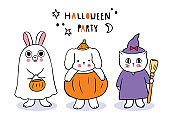 Cartoon cute Halloween day, Rabbit and Dog and cat trick or treat vector.