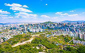 seoul skyline, South Korea. View from inwangsan mountain,The high angle view of Seoul during the day with the blue sky and beautiful clouds.