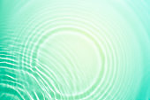 Mint light green turquoise liquid cosmetic water gel with circular rippling wave effect