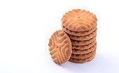 A stack of delicious biscuits isolated on white, Cookies