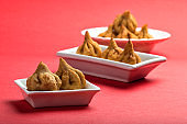 Indian Food: Modak, Maharashtra Sweet Dish, favourite sweet of lord ganesha, greeting card design. Copy-space.