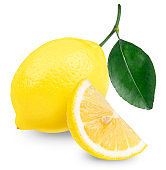 Fresh ripe lemons isolated on white background, Lemon Fruit with leaf on a white background, With clipping path