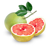 Red Pomelo citrus fruit on white background, pomelo fruit isolated on white background With clipping path.