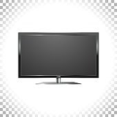 Realistic Led TV image. LCD wide screen on transparent background. Black monitor icon. Front view. Vector flat illustration.