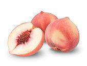 Peach fruit isolated on white background,Fresh White Peach on White Background (With clipping path)