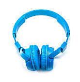 Blue wireless headphones isolated on white background, Blue headphone isolate on white background.