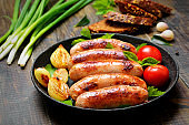Fried sausages in frying pan