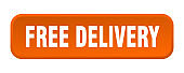 free delivery button. free delivery square 3d push button