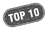 top 10 sign. top 10 grunge black stamp. Label