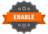enable label. enable isolated seal. sticker. sign