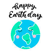 Happy Earth day vector illustration.