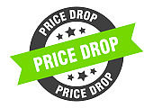 price drop sign. price drop black-green round ribbon sticker
