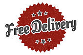 free delivery sign. free delivery round vintage retro label. free delivery