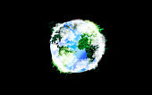 Planet Earth with continents from green grass. Eco-friendly concept. Isolated on black background. Environment protection.