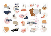 Set of hand drawn story highlights icons. Abstract geometric shapes with text and decorative objects. Happy New Year celebration. Lifestyle, food and party. Isolated vector icons. Flat design.