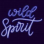 Neon sign calligraphic lettering vector illustration