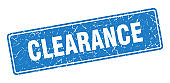 clearance stamp. clearance vintage blue label. Sign