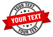 your text label sign. round stamp. band. ribbon