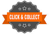 click & collect label. click & collect isolated seal. sticker. sign