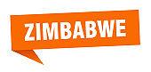 Zimbabwe sticker. Orange Zimbabwe signpost pointer sign