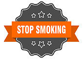 stop smoking isolated seal. stop smoking orange label. stop smoking