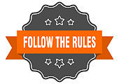 follow the rules label. follow the rules isolated seal. sticker. sign