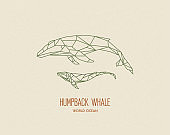 Polygon whales silhouettes