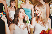Birthday Party Group of Teenage Girls Joking Around