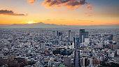 Tokyo Cityscape Sunset Panorama Mount Fuji Japan