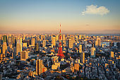 View to Tokyo Tower in Warm Sunset Light Tokyo Japan