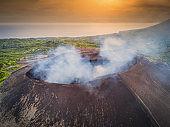 Mount Yasur Tanna Island Vanuatu Volcano Eruption Aerial Drone View