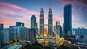 Petronas Twin Towers Sunset Twilight Panorama Kuala Lumpur Malaysia