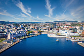 Oslo Norway Cityscape Harbor Drone Aerial View