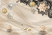 3d mural illustration background with golden jewelry and flowers , circles simple decorative wood wallpaper . peacock , horse , butterfly and Deer