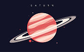 Saturn. The sixth planet from the Sun. Vector illustration
