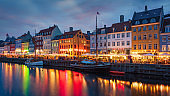 Copenhagen Nyhavn Nightlife Twilight Denmark