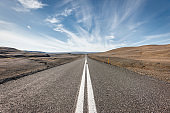 Endless Open Highway To The Horizon Iceland Volcanic Highlands