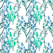 Floral seamless pattern with leaves and grass