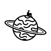 Vector illustration with lonely man silhouette sitting on the planet.