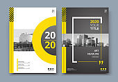 Abstract a4 brochure cover design. Ad text frame. Urban city view font. Title sheet model. Modern vector front page. Brand. Banner texture. Black, white ring figure, Yellow line icon. Flyer fiber