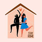 Vector illustration with dancing girl and black cat at house. Stay home lettering phrase, doodle red heart.